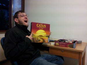 On a more positive note, we did manage to play our first round of Settlers of Catan in German this evening…!